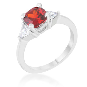 Shonda 1.8ct Ruby CZ Rhodium Cushion Classic Statement Ring - Jewelry Xoxo