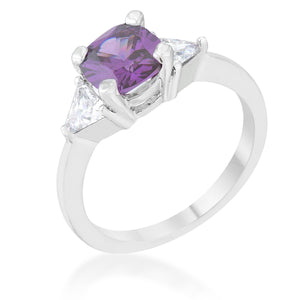 Shonda 1.8ct Amethyst CZ Rhodium Cushion Classic Statement Ring - Jewelry Xoxo