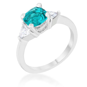Shonda 1.8ct Aqua CZ Rhodium Cushion Classic Statement Ring