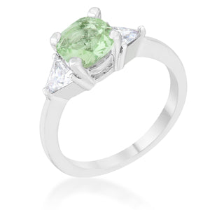 Shonda 1.8ct Peridot CZ Rhodium Cushion Classic Statement Ring - Jewelry Xoxo