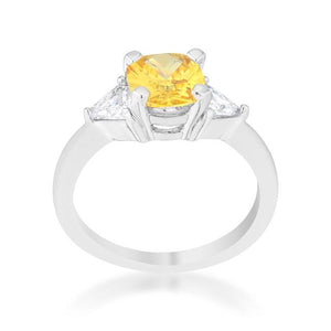 Shonda 1.8ct Canary CZ Rhodium Cushion Classic Statement Ring - Jewelry Xoxo