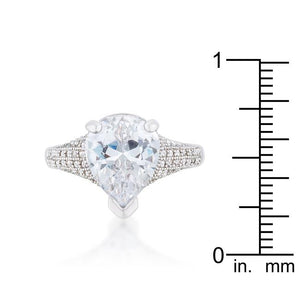 Rhyne 5.8ct CZ Rhodium Pear Cocktail Ring - Jewelry Xoxo