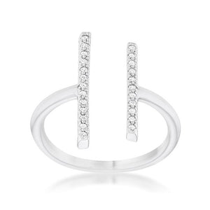 Sharna 12ct CZ Rhodium Parallel Contemporary Ring - Jewelry Xoxo