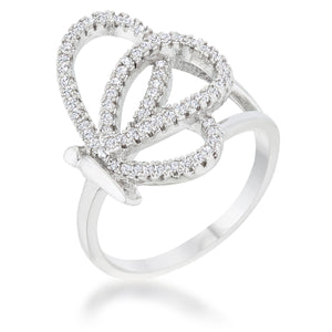 Bea 0.4ct CZ Rhodium Pave Butterfly Ring - Jewelry Xoxo