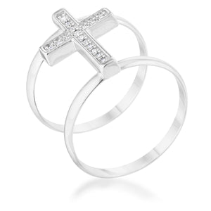 Francis 0.08ct CZ Rhodium Contemporary Cross Ring - Jewelry Xoxo