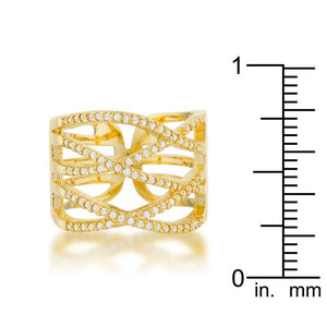 Mandy 0.6ct CZ 14k Gold Contemporary Wide Ring - Jewelry Xoxo