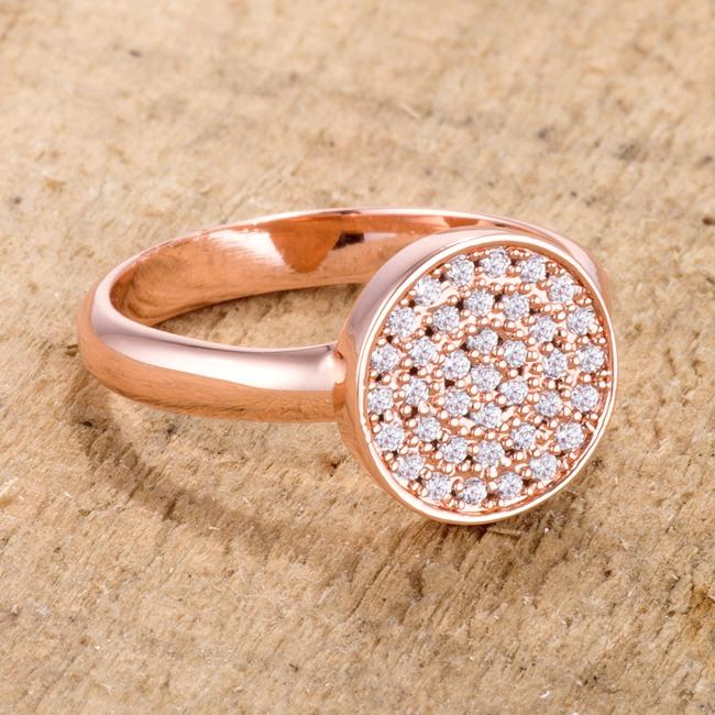 0.2ct CZ Rose Gold Pave Circle Ring - Jewelry Xoxo