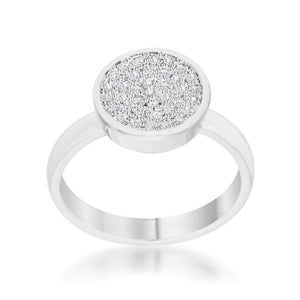 Krystal 0.2ct CZ Rhodium Pave Circle Ring - Jewelry Xoxo