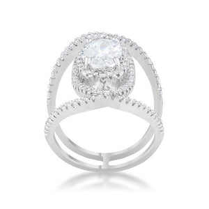 Maura 2.4ct CZ Rhodium Contemporary Cocktail Ring - Jewelry Xoxo