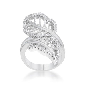 Lina 0.4ct CZ Rhodium Leaf Wrap Ring - Jewelry Xoxo
