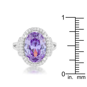 Melanie 5.95ct Amethyst CZ Rhodium Cocktail Ring - Jewelry Xoxo