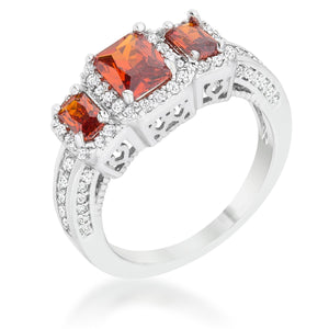 Rita 2.3ct Garnet CZ Rhodium Classic Trio Ring - Jewelry Xoxo