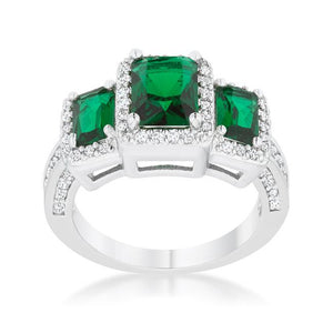 Rita 2.3ct Emerald CZ Rhodium Classic Trio Ring - Jewelry Xoxo
