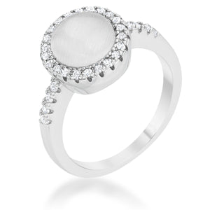 Patricia 0.3ct CZ White Cats Eye Rhodium Classic Ring - Jewelry Xoxo