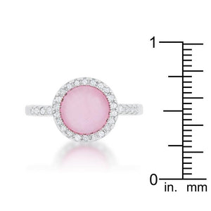 Patricia 0.3ct CZ Pink Cats Eye Rhodium Classic Ring - Jewelry Xoxo