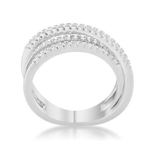 Lynn 0.25ct CZ Rhodium Twisted Trio Band Ring - Jewelry Xoxo