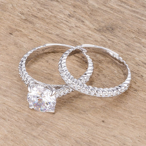 2.1Ct Rhodium Plated Baroque Style Wedding Set - Jewelry Xoxo