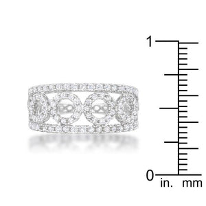 Rina 0.5ct CZ Rhodium Contemporary Band Ring - Jewelry Xoxo