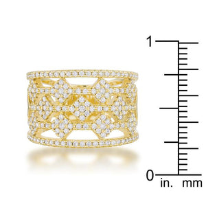 Marlene 0.6ct CZ 14k Gold Wide Band Cocktail Ring - Jewelry Xoxo