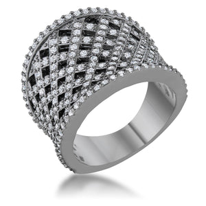 Brin 1.4ct CZ Hematite Wide Woven Style Ring - Jewelry Xoxo