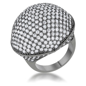 Dara 4.75ct CZ Hematite Dome Cocktail Ring - Jewelry Xoxo