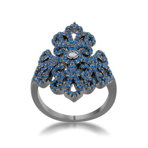 Victoria 1.23ct Sapphire CZ Hematite Filigree Cocktail Ring - Jewelry Xoxo