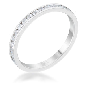 Teresa 0.5ct Clear CZ Stainless Steel Eternity Band - Jewelry Xoxo