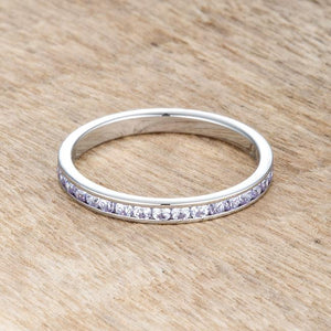 Teresa 0.5ct Light Lavender CZ Stainless Steel Eternity Band - Jewelry Xoxo