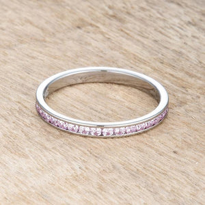 Teresa 0.5ct Pink CZ Stainless Steel Eternity Band - Jewelry Xoxo