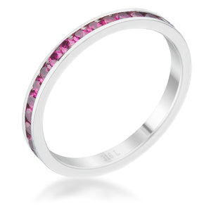 Teresa 0.5ct Garnet CZ Stainless Steel Eternity Band - Jewelry Xoxo