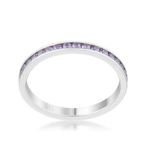 Teresa 0.5ct Lavender CZ Stainless Steel Eternity Band - Jewelry Xoxo