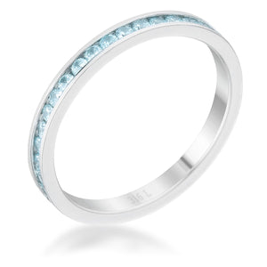 Teresa 0.5ct Aqua CZ Stainless Steel Eternity Band - Jewelry Xoxo