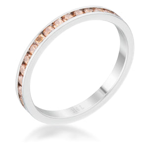 Teresa 0.5ct Champagne CZ Stainless Steel Eternity Band - Jewelry Xoxo