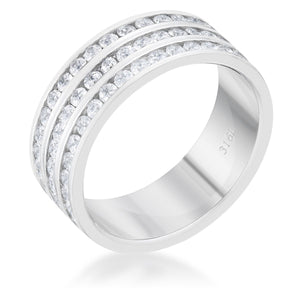 Dreya 1.6ct CZ Rhodium Stainless Steel Eternity Ring - Jewelry Xoxo
