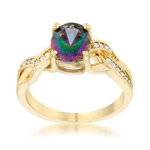 Justine 2ct Mystic CZ 14k Gold Classic Oval Ring - Jewelry Xoxo