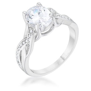 Justine 2ct CZ Rhodium Classic Oval Ring - Jewelry Xoxo