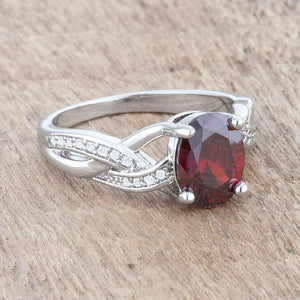 Justine 2ct Garnet CZ Rhodium Classic Oval Ring - Jewelry Xoxo