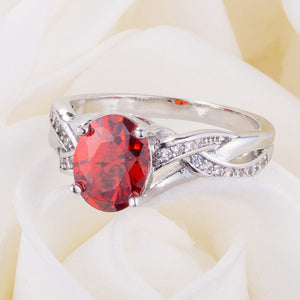 Classic 2ct Apple Red CZ Rhodium Plated Oval Ring - Jewelry Xoxo