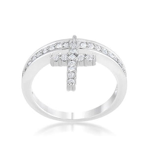 Christine 0.2ct CZ Rhodium Cross Charm Ring - Jewelry Xoxo