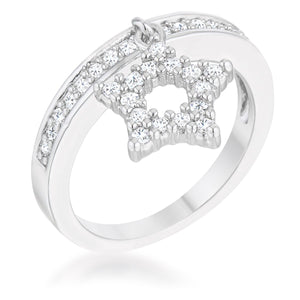 Star 0.25ct CZ Rhodium Simple Holiday Charm Band Ring - Jewelry Xoxo