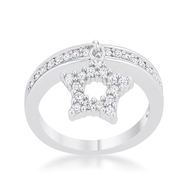 Star 0.25ct CZ Rhodium Simple Holiday Charm Band Ring