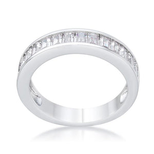 Baguette Cut CZ Rhodium Wedding Band - Jewelry Xoxo