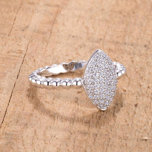 .3Ct Beautiful Oval-Designed Rhodium Ring With Clear CZ - Jewelry Xoxo