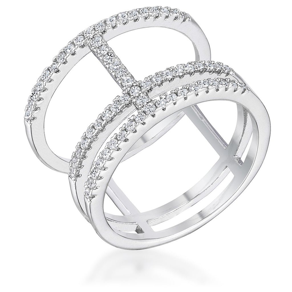 0.5Ct Rhodium Parallel Ring with Brilliant CZ - Jewelry Xoxo