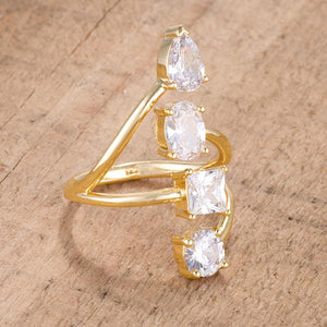 3CT Stunning CZ Goldtone Ring - Jewelry Xoxo