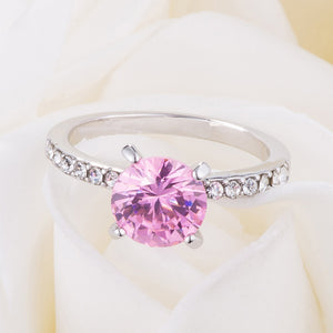 Classic 2.3Ct Pink CZ Rhodium Plated Ring - Jewelry Xoxo