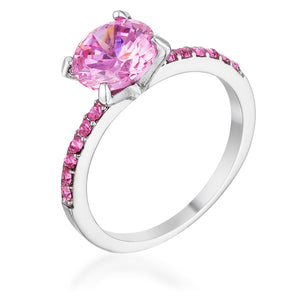 2.3CT Pink CZ Rhodium Ring - Jewelry Xoxo
