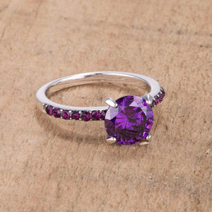 2.3CT Amethyst CZ Rhodium Ring - Jewelry Xoxo