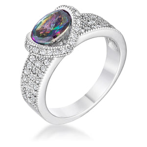 1.6 Ct Mystic Oval CZ Ring - Jewelry Xoxo