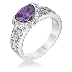 1.6 Ct Amethyst Oval CZ Ring - Jewelry Xoxo